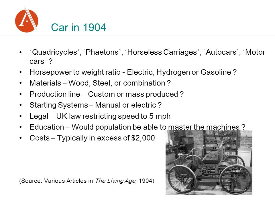 Car in 1904 Quadricycles, Phaetons, Horseless Carriages, Autocars, Motor cars .