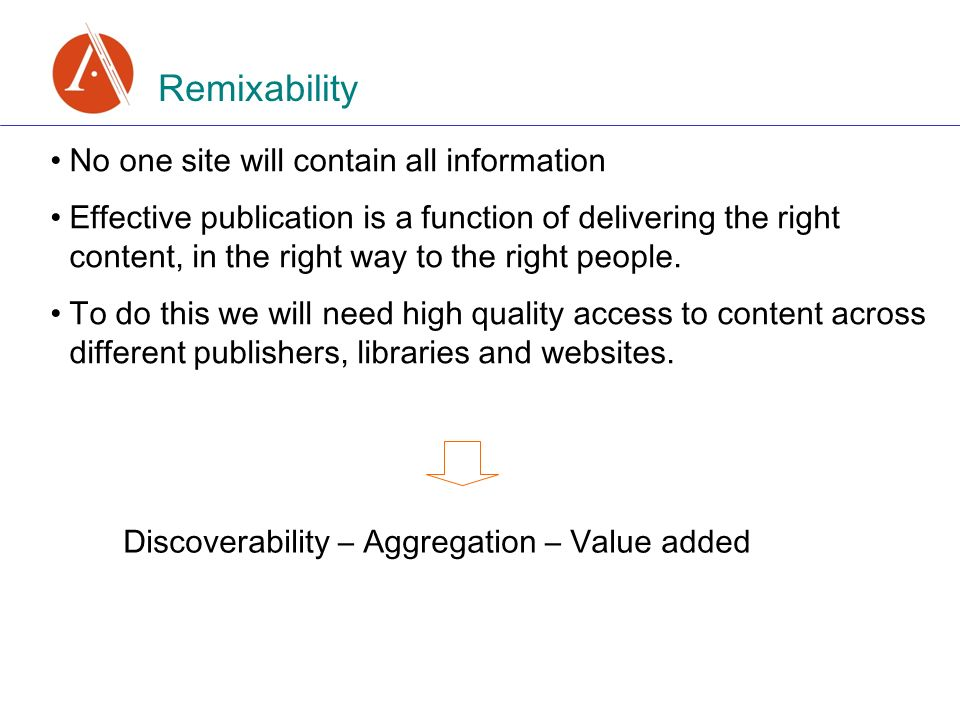 Remixability No one site will contain all information Effective publication is a function of delivering the right content, in the right way to the right people.