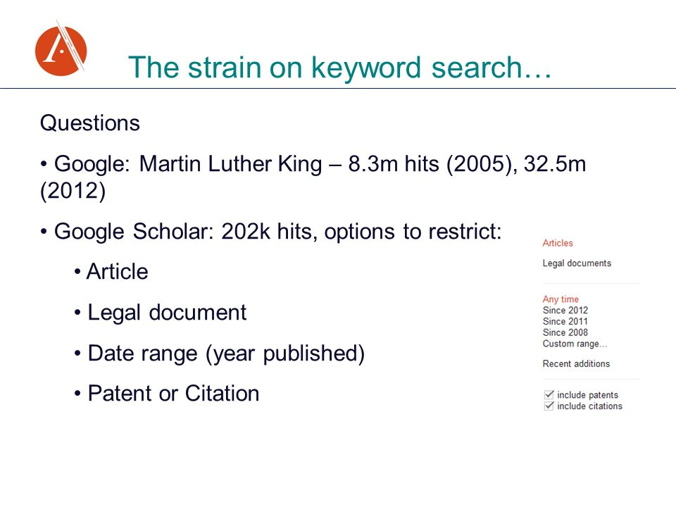 The strain on keyword search… Questions Google: Martin Luther King – 8.3m hits (2005), 32.5m (2012) Google Scholar: 202k hits, options to restrict: Article Legal document Date range (year published) Patent or Citation