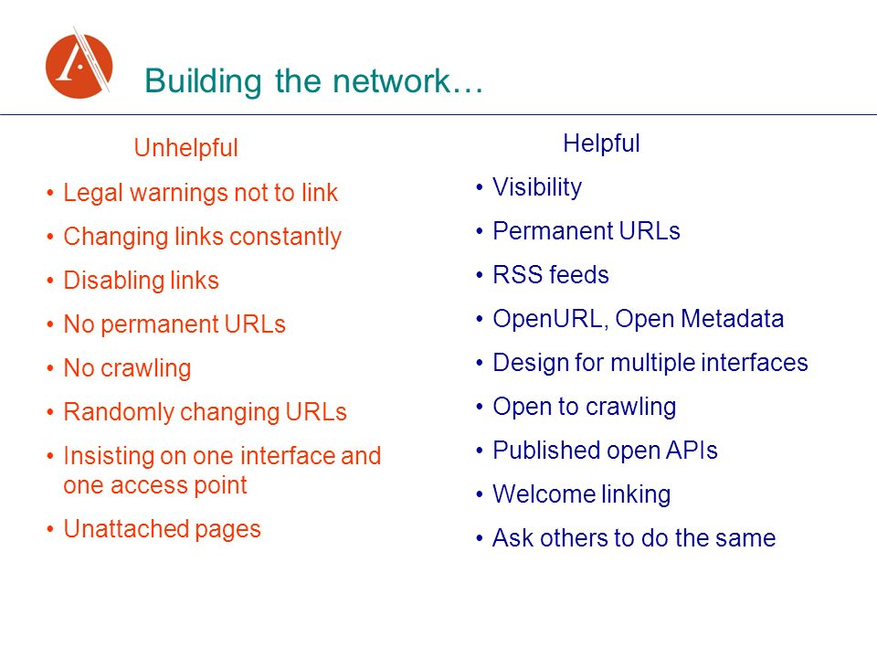 Building the network… Unhelpful Legal warnings not to link Changing links constantly Disabling links No permanent URLs No crawling Randomly changing URLs Insisting on one interface and one access point Unattached pages Helpful Visibility Permanent URLs RSS feeds OpenURL, Open Metadata Design for multiple interfaces Open to crawling Published open APIs Welcome linking Ask others to do the same