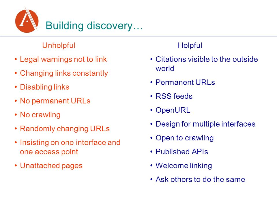 Building discovery… Unhelpful Legal warnings not to link Changing links constantly Disabling links No permanent URLs No crawling Randomly changing URLs Insisting on one interface and one access point Unattached pages Helpful Citations visible to the outside world Permanent URLs RSS feeds OpenURL Design for multiple interfaces Open to crawling Published APIs Welcome linking Ask others to do the same