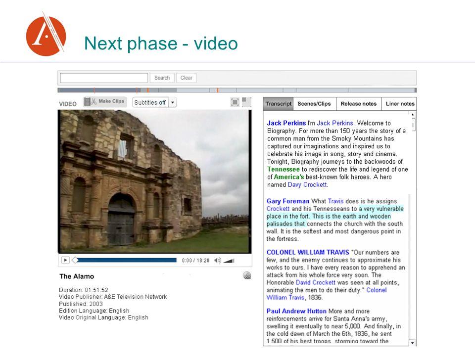 Next phase - video