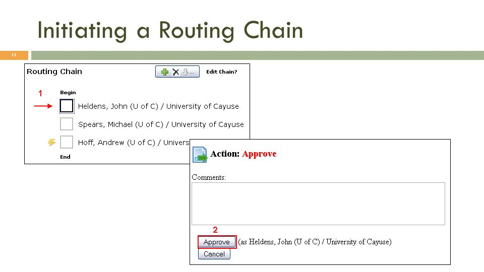 Initiating a Routing Chain 11