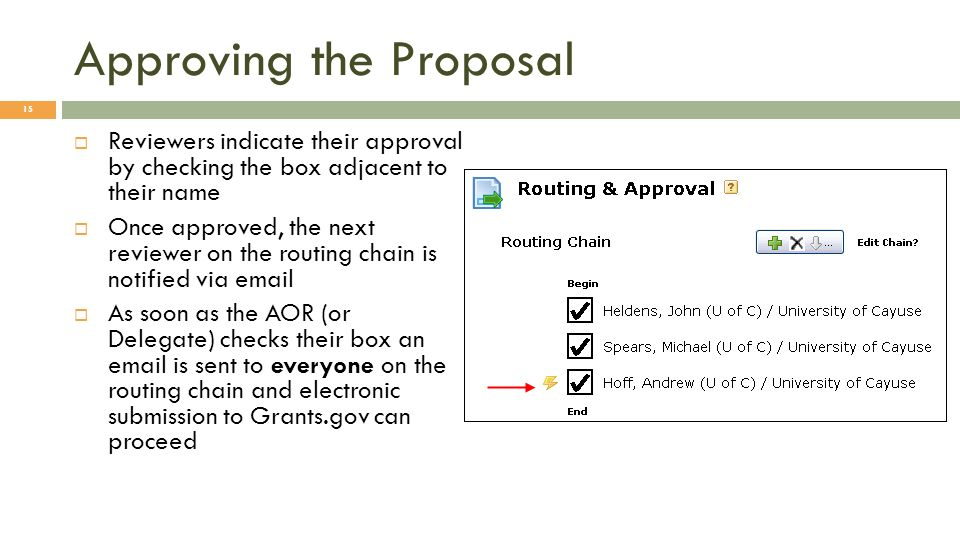 Approving the Proposal Reviewers indicate their approval by checking the box adjacent to their name Once approved, the next reviewer on the routing chain is notified via  As soon as the AOR (or Delegate) checks their box an  is sent to everyone on the routing chain and electronic submission to Grants.gov can proceed 15
