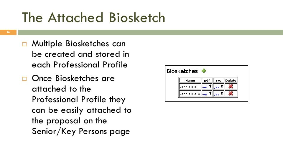 The Attached Biosketch Multiple Biosketches can be created and stored in each Professional Profile Once Biosketches are attached to the Professional Profile they can be easily attached to the proposal on the Senior/Key Persons page 16