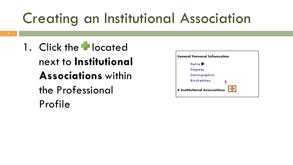 Creating an Institutional Association 1.Click the located next to Institutional Associations within the Professional Profile 9