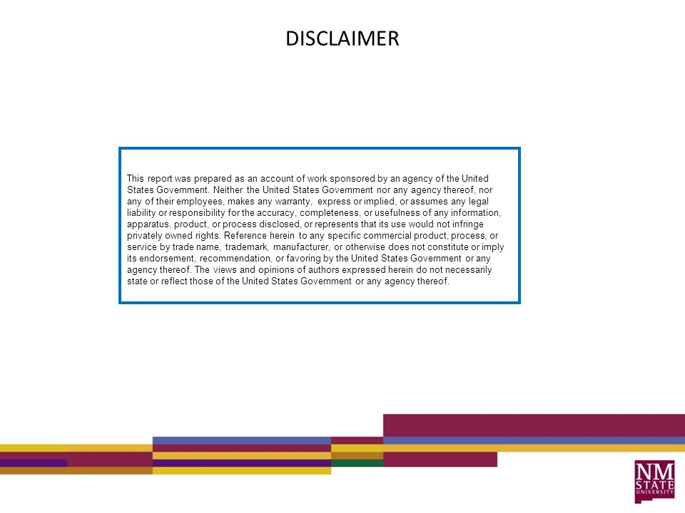 DISCLAIMER This report was prepared as an account of work sponsored by an agency of the United States Government.