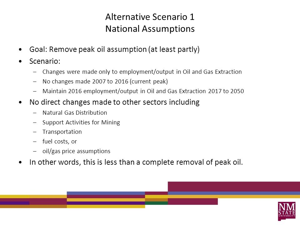 Alternative Scenario 1 National Assumptions Goal: Remove peak oil assumption (at least partly) Scenario: –Changes were made only to employment/output in Oil and Gas Extraction –No changes made 2007 to 2016 (current peak) –Maintain 2016 employment/output in Oil and Gas Extraction 2017 to 2050 No direct changes made to other sectors including –Natural Gas Distribution –Support Activities for Mining –Transportation –fuel costs, or –oil/gas price assumptions In other words, this is less than a complete removal of peak oil.