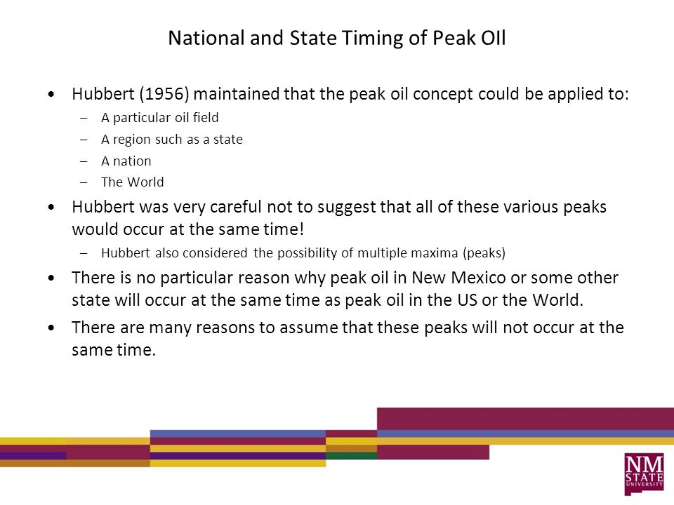National and State Timing of Peak OIl Hubbert (1956) maintained that the peak oil concept could be applied to: –A particular oil field –A region such
