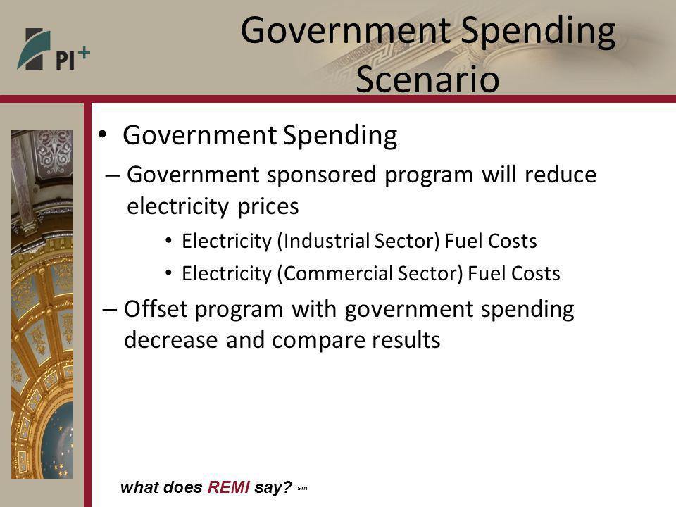 what does REMI say? sm Government Spending Scenario Government Spending – Government sponsored program will reduce electricity prices Electricity (Ind