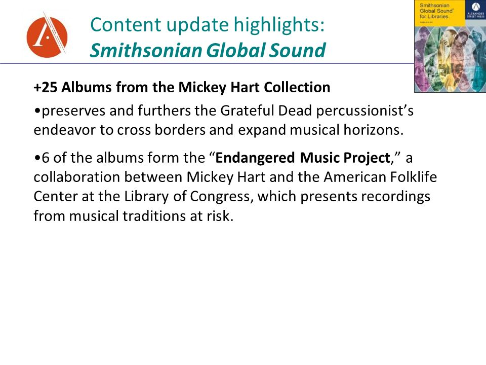 Content update highlights: Smithsonian Global Sound +25 Albums from the Mickey Hart Collection preserves and furthers the Grateful Dead percussionists