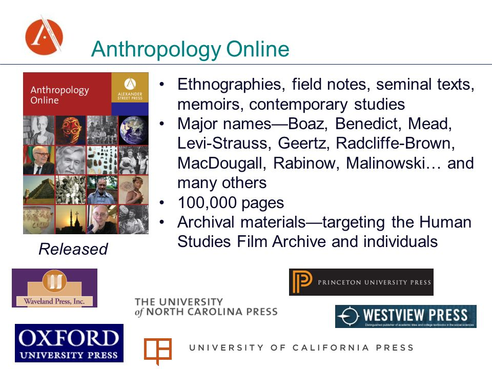Anthropology Online Ethnographies, field notes, seminal texts, memoirs, contemporary studies Major namesBoaz, Benedict, Mead, Levi-Strauss, Geertz, Radcliffe-Brown, MacDougall, Rabinow, Malinowski… and many others 100,000 pages Archival materialstargeting the Human Studies Film Archive and individuals Released