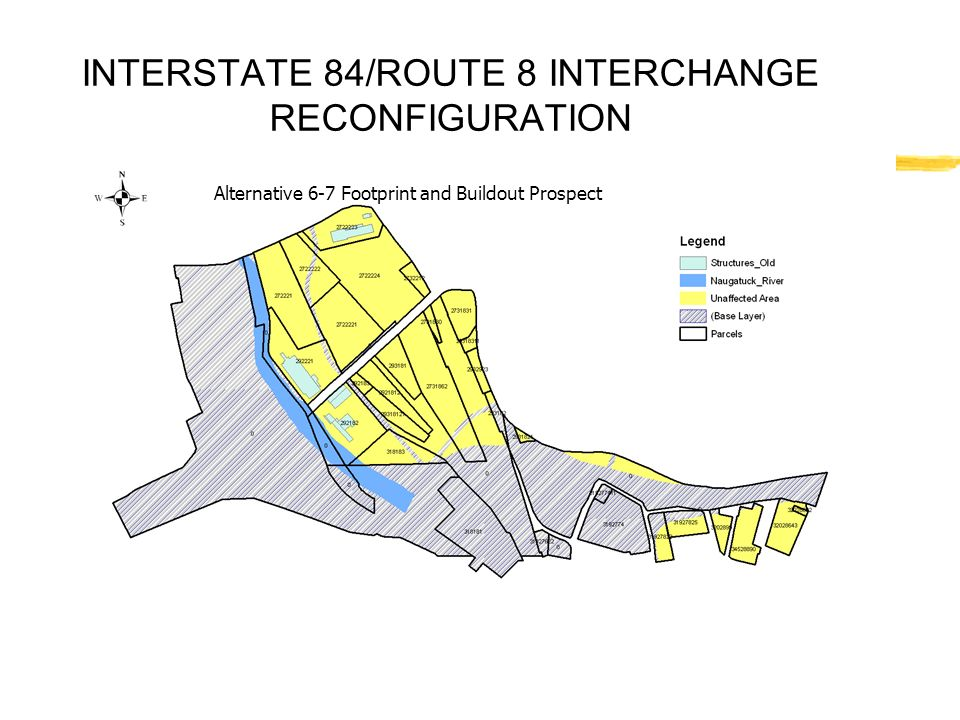 INTERSTATE 84/ROUTE 8 INTERCHANGE RECONFIGURATION Alternative 6-7 Footprint and Buildout Prospect