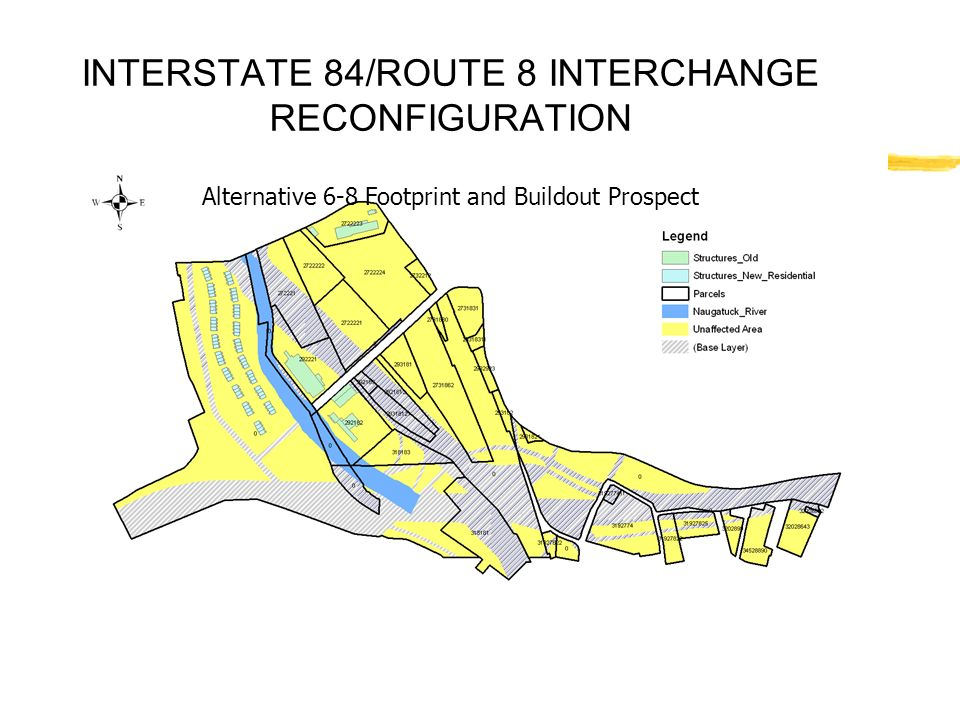 INTERSTATE 84/ROUTE 8 INTERCHANGE RECONFIGURATION Alternative 6-8 Footprint and Buildout Prospect