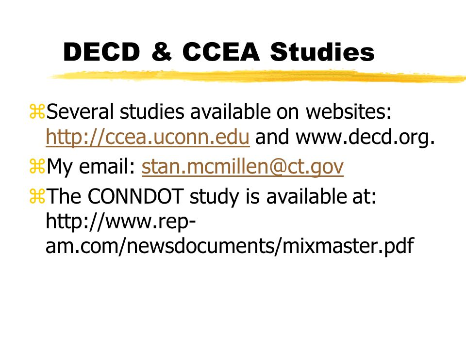 DECD & CCEA Studies zSeveral studies available on websites:   and