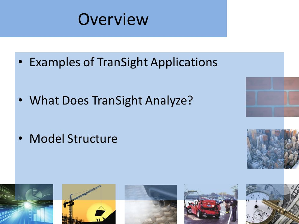 Overview Examples of TranSight Applications What Does TranSight Analyze? Model Structure