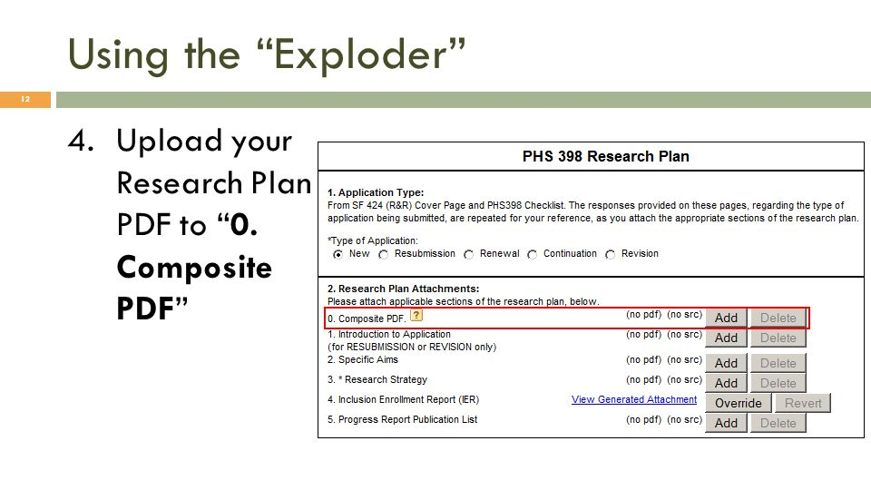 Using the Exploder 4.Upload your Research Plan PDF to 0. Composite PDF 12