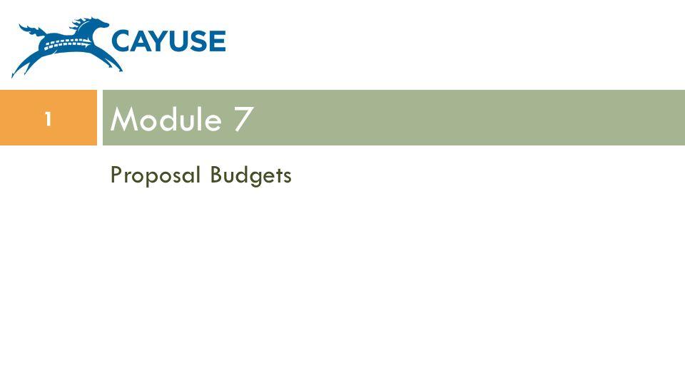 Proposal Budgets Module 7 1
