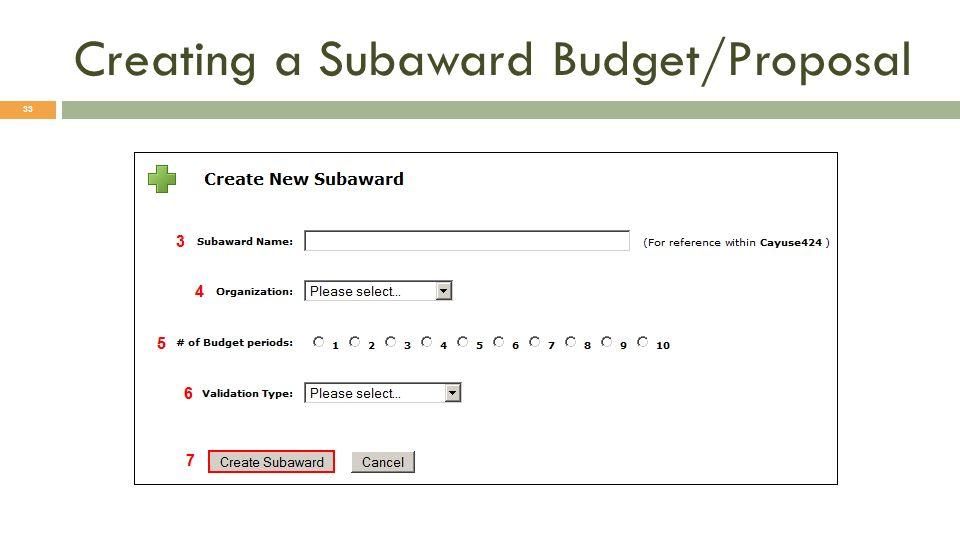 Creating a Subaward Budget/Proposal 33