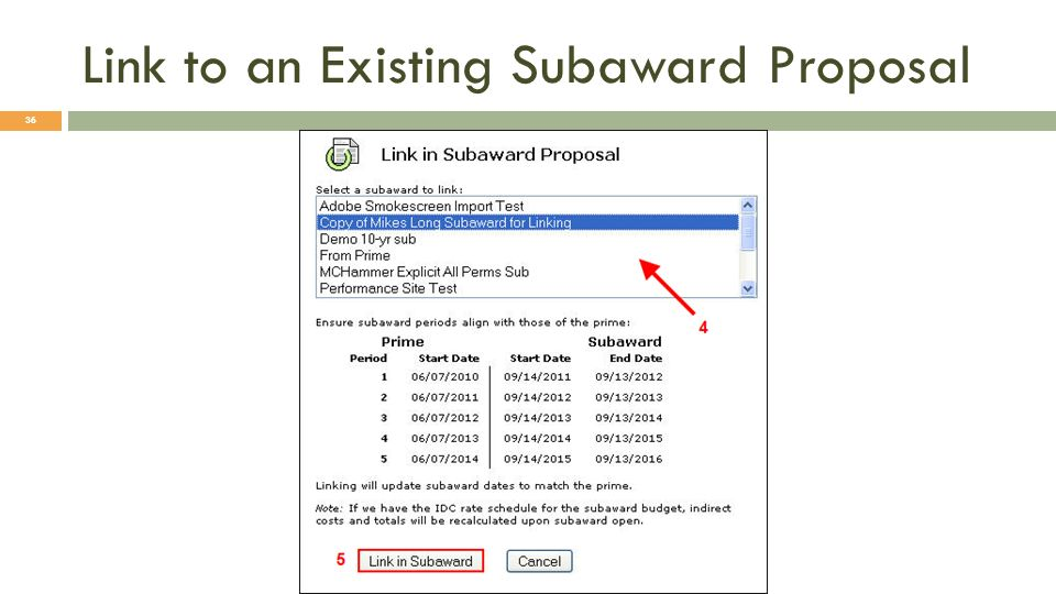 Link to an Existing Subaward Proposal 36