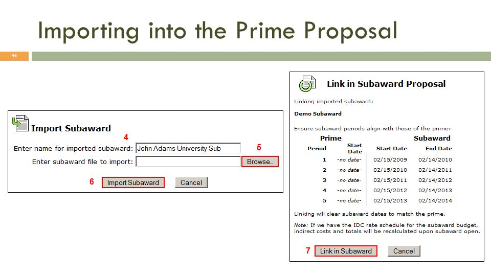 Importing into the Prime Proposal 44