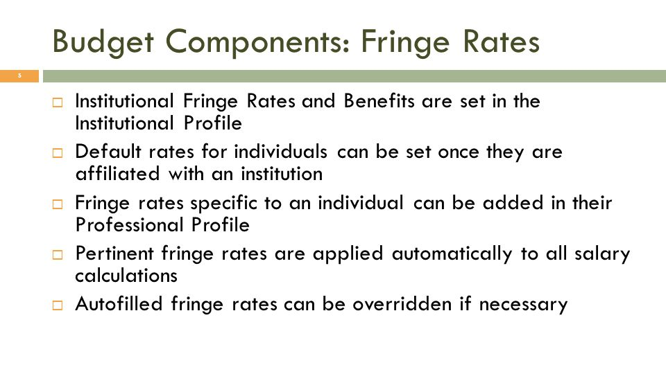 Budget Components: Fringe Rates 5 Institutional Fringe Rates and Benefits are set in the Institutional Profile Default rates for individuals can be se