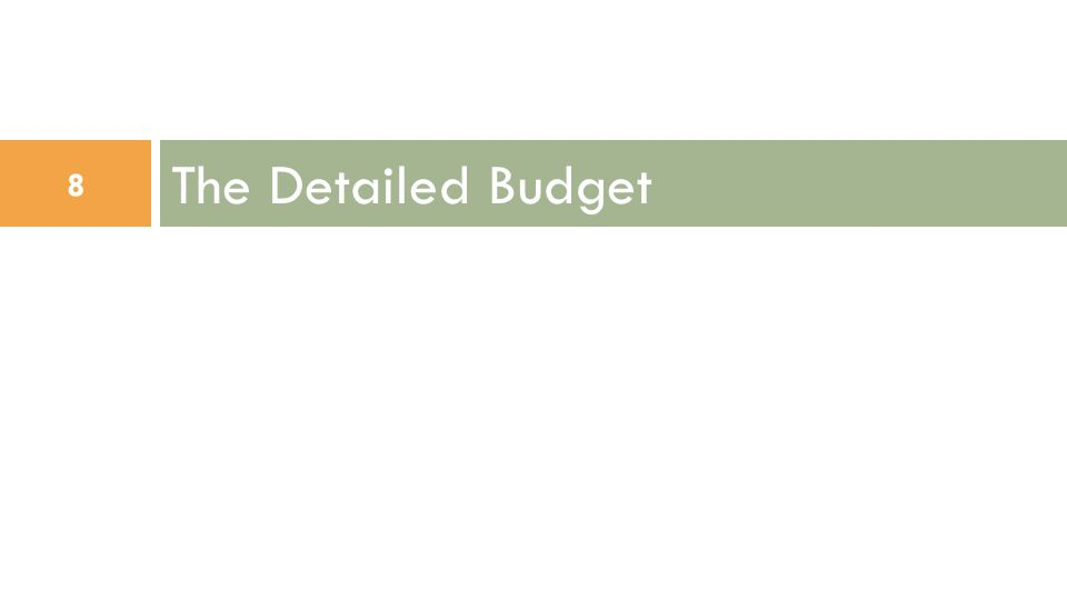 The Detailed Budget 8
