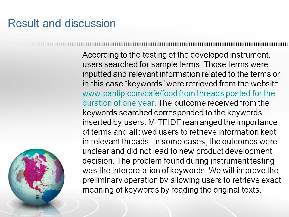 Result and discussion According to the testing of the developed instrument, users searched for sample terms.