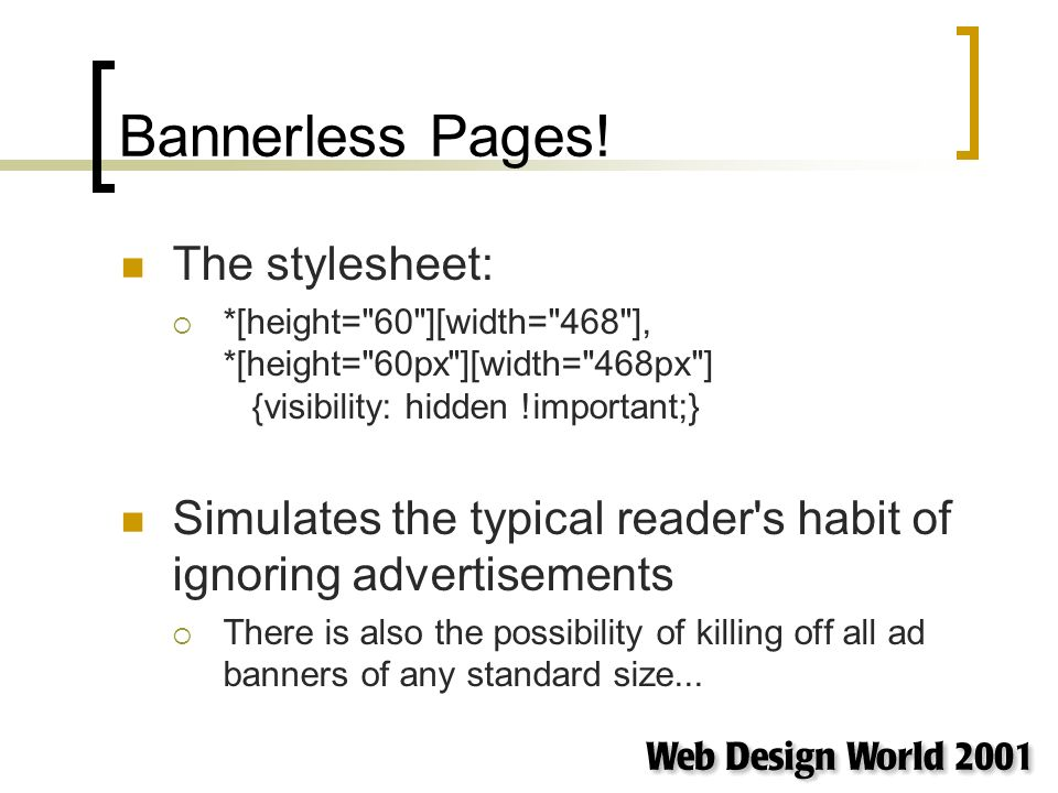 Bannerless Pages.