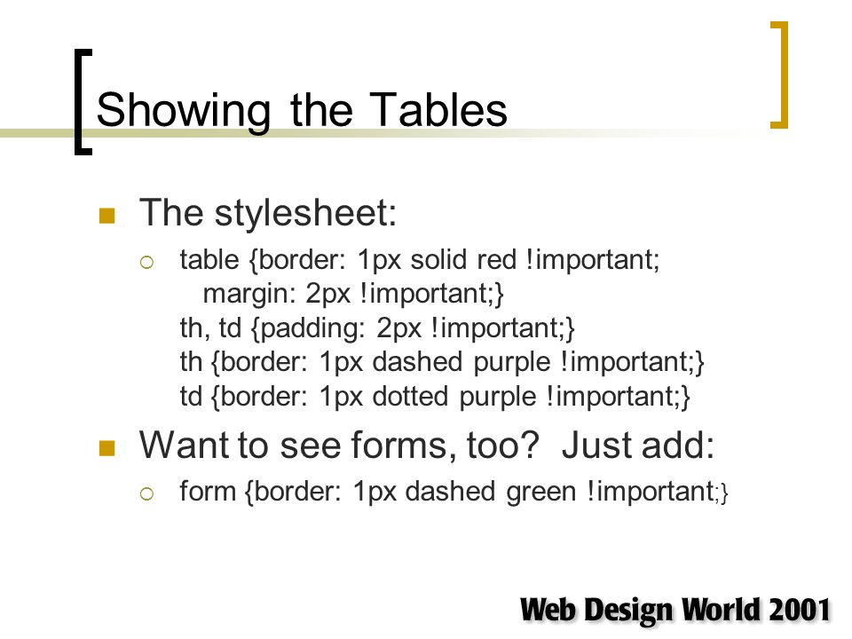 Showing the Tables The stylesheet: table {border: 1px solid red !important; margin: 2px !important;} th, td {padding: 2px !important;} th {border: 1px dashed purple !important;} td {border: 1px dotted purple !important;} Want to see forms, too.