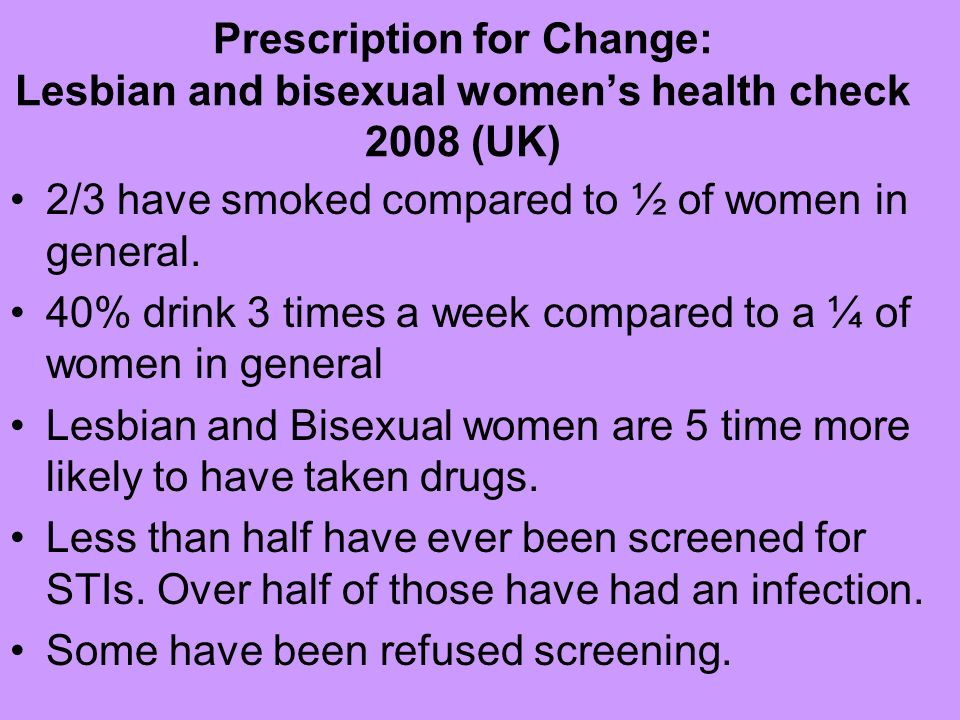 Prescription for Change: Lesbian and bisexual womens health check 2008 (UK) 2/3 have smoked compared to ½ of women in general. 40% drink 3 times a wee