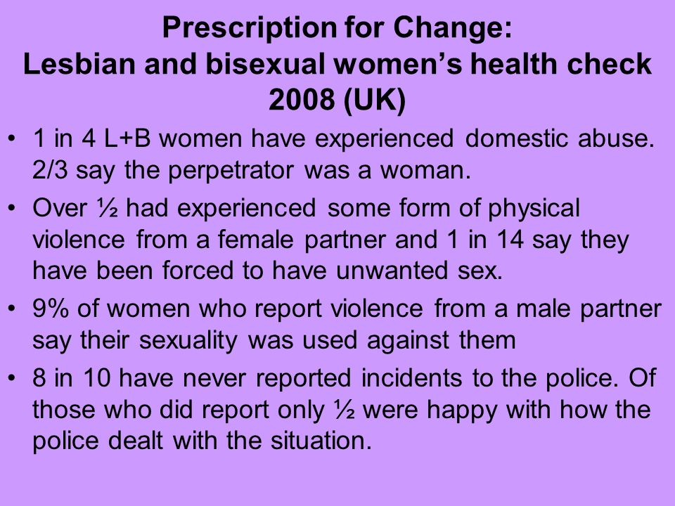 Prescription for Change: Lesbian and bisexual womens health check 2008 (UK) 1 in 4 L+B women have experienced domestic abuse. 2/3 say the perpetrator