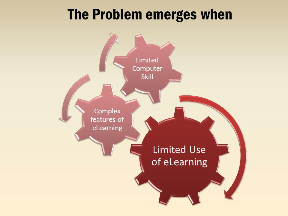 The Problem emerges when Limited Use of eLearning Complex features of eLearning Limited Computer Skill