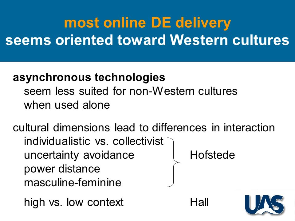 asynchronous technologies seem less suited for non-Western cultures when used alone cultural dimensions lead to differences in interaction individualistic vs.