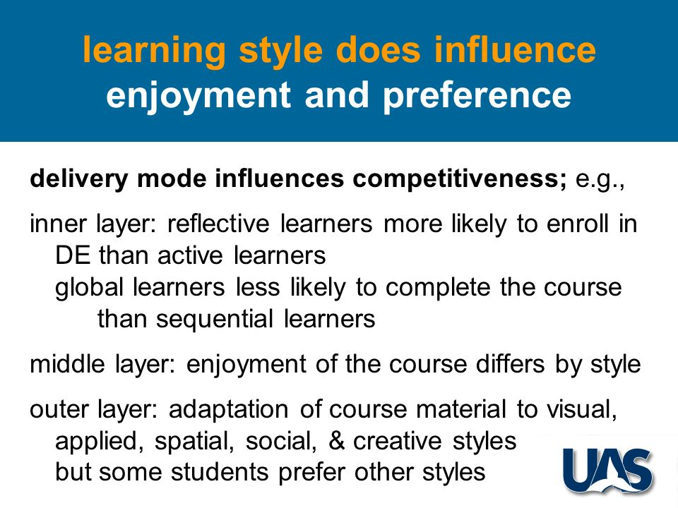 delivery mode influences competitiveness; e.g., inner layer: reflective learners more likely to enroll in DE than active learners global learners less likely to complete the course than sequential learners middle layer: enjoyment of the course differs by style outer layer: adaptation of course material to visual, applied, spatial, social, & creative styles but some students prefer other styles learning style does influence enjoyment and preference