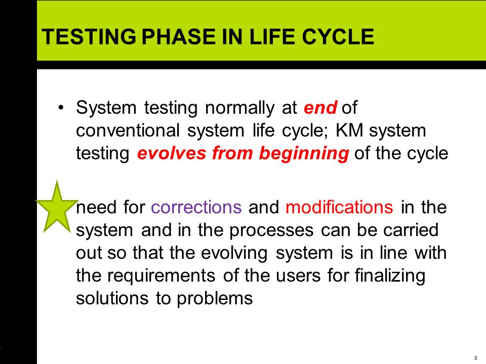 9 Recognition of Need and Feasibility Study Software Requirements Specifications Logical Design (master design plan) Physical Design (Coding) Testing Implementation Operations and Maintenance Evaluate Existing Infrastructure Form the KM team Knowledge Capture Design KM Blueprint Verify and Validate the KM system Implement the KM system Manage Change and Rewards Structures Post system Evaluation Conventional System Life CycleKM System Life Cycle