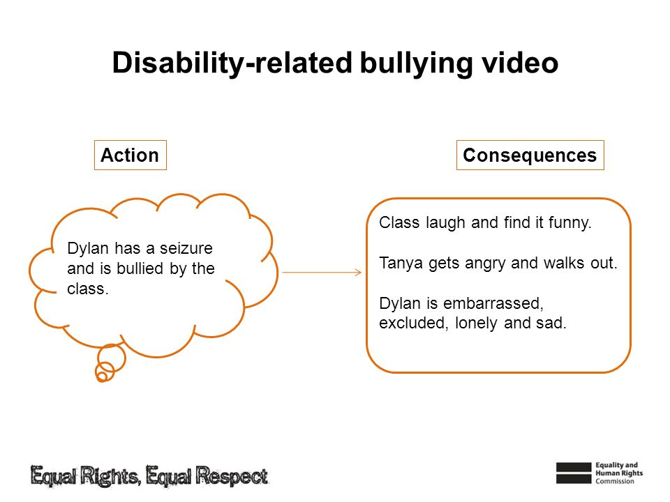 Disability-related bullying video ConsequencesAction Dylan has a seizure and is bullied by the class. Class laugh and find it funny. Tanya gets angry