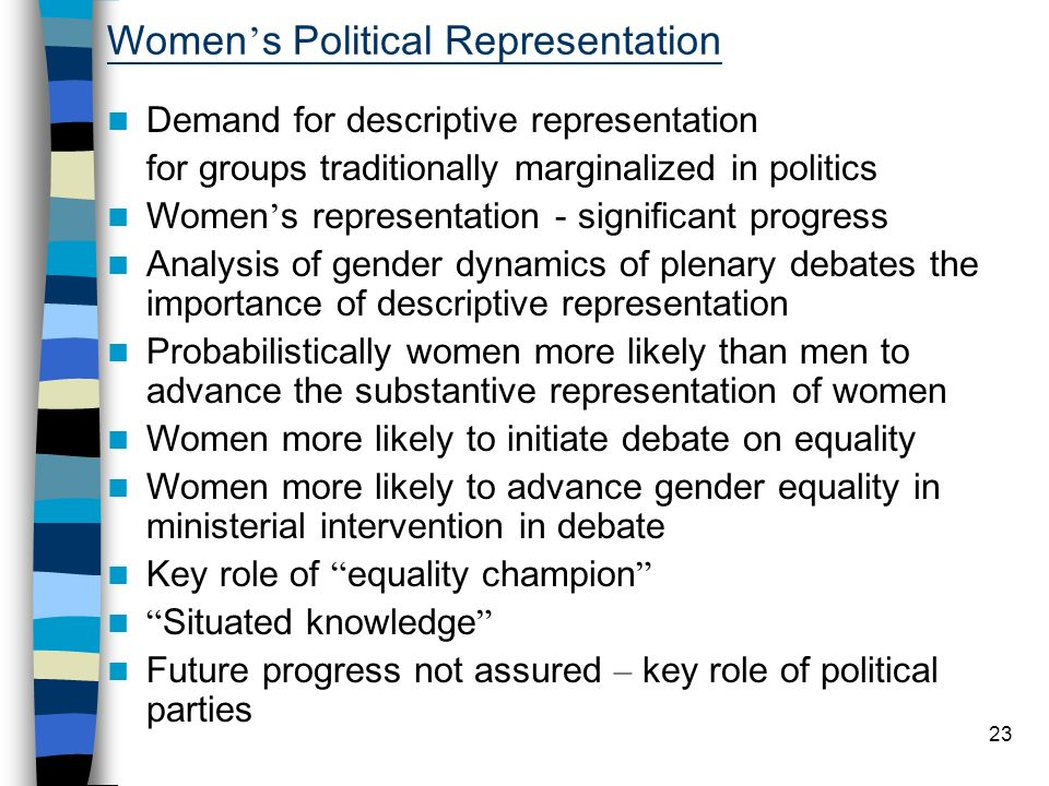23 Women s Political Representation Demand for descriptive representation for groups traditionally marginalized in politics Women s representation - significant progress Analysis of gender dynamics of plenary debates the importance of descriptive representation Probabilistically women more likely than men to advance the substantive representation of women Women more likely to initiate debate on equality Women more likely to advance gender equality in ministerial intervention in debate Key role of equality champion Situated knowledge Future progress not assured – key role of political parties