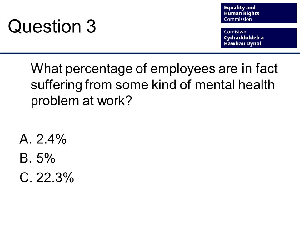 What percentage of employees are in fact suffering from some kind of mental health problem at work.