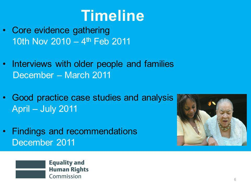 6 Timeline Core evidence gathering 10th Nov 2010 – 4 th Feb 2011 Interviews with older people and families December – March 2011 Good practice case studies and analysis April – July 2011 Findings and recommendations December 2011