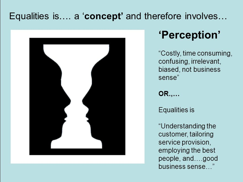 Perception Costly, time consuming, confusing, irrelevant, biased, not business sense OR.,… Equalities is Understanding the customer, tailoring service