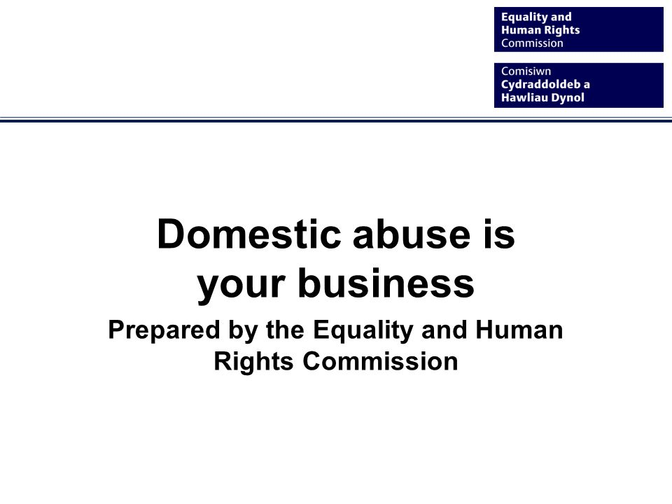 Domestic abuse is your business Prepared by the Equality and Human Rights Commission