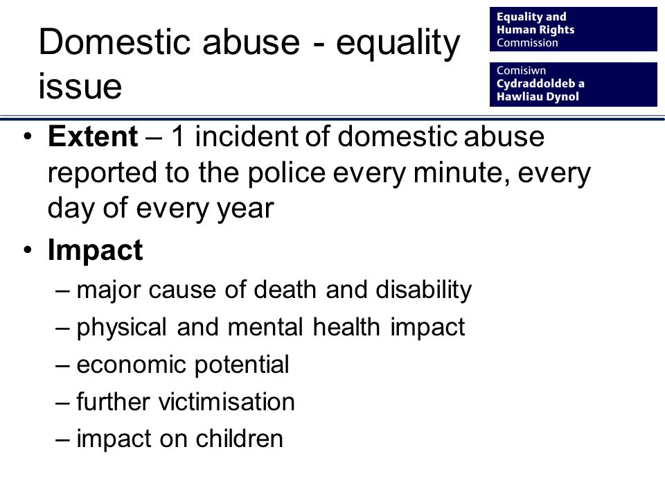 Domestic abuse - equality issue Extent – 1 incident of domestic abuse reported to the police every minute, every day of every year Impact –major cause of death and disability –physical and mental health impact –economic potential –further victimisation –impact on children