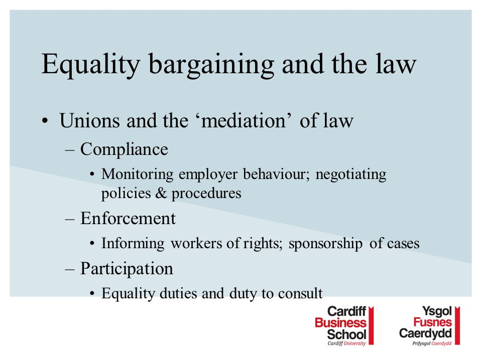 Equality bargaining and the law Unions and the mediation of law –Compliance Monitoring employer behaviour; negotiating policies & procedures –Enforcement Informing workers of rights; sponsorship of cases –Participation Equality duties and duty to consult