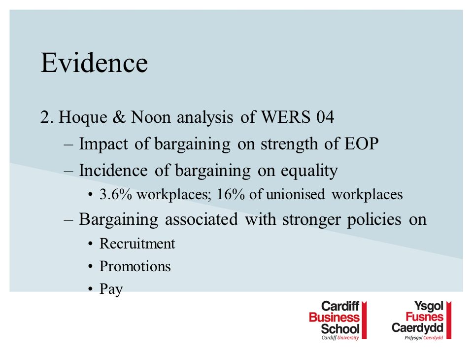Evidence 2. Hoque & Noon analysis of WERS 04 –Impact of bargaining on strength of EOP –Incidence of bargaining on equality 3.6% workplaces; 16% of uni