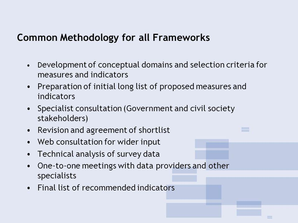 Common Methodology for all Frameworks D evelopment of conceptual domains and selection criteria for measures and indicators Preparation of initial long list of proposed measures and indicators Specialist consultation (Government and civil society stakeholders) Revision and agreement of shortlist Web consultation for wider input Technical analysis of survey data One-to-one meetings with data providers and other specialists Final list of recommended indicators