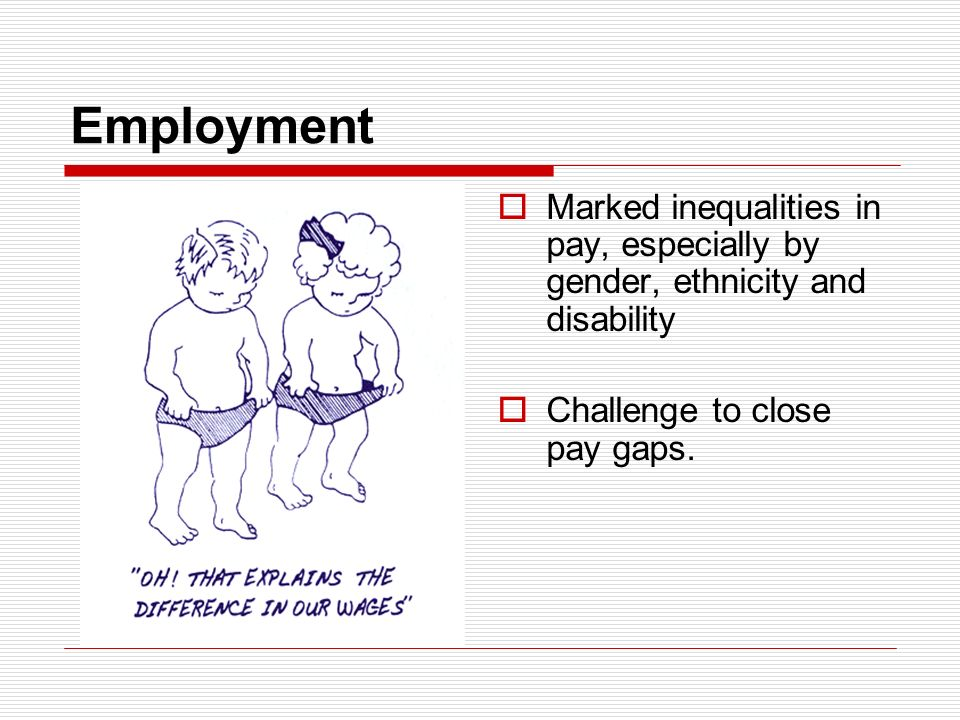 Employment Marked inequalities in pay, especially by gender, ethnicity and disability Challenge to close pay gaps.