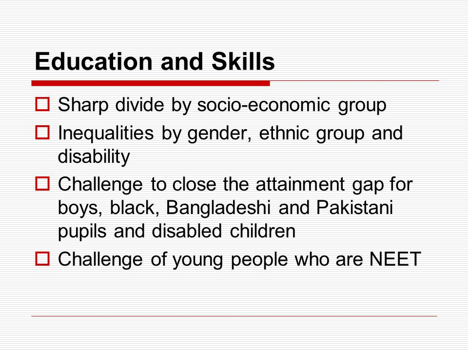 Education and Skills Sharp divide by socio-economic group Inequalities by gender, ethnic group and disability Challenge to close the attainment gap for boys, black, Bangladeshi and Pakistani pupils and disabled children Challenge of young people who are NEET