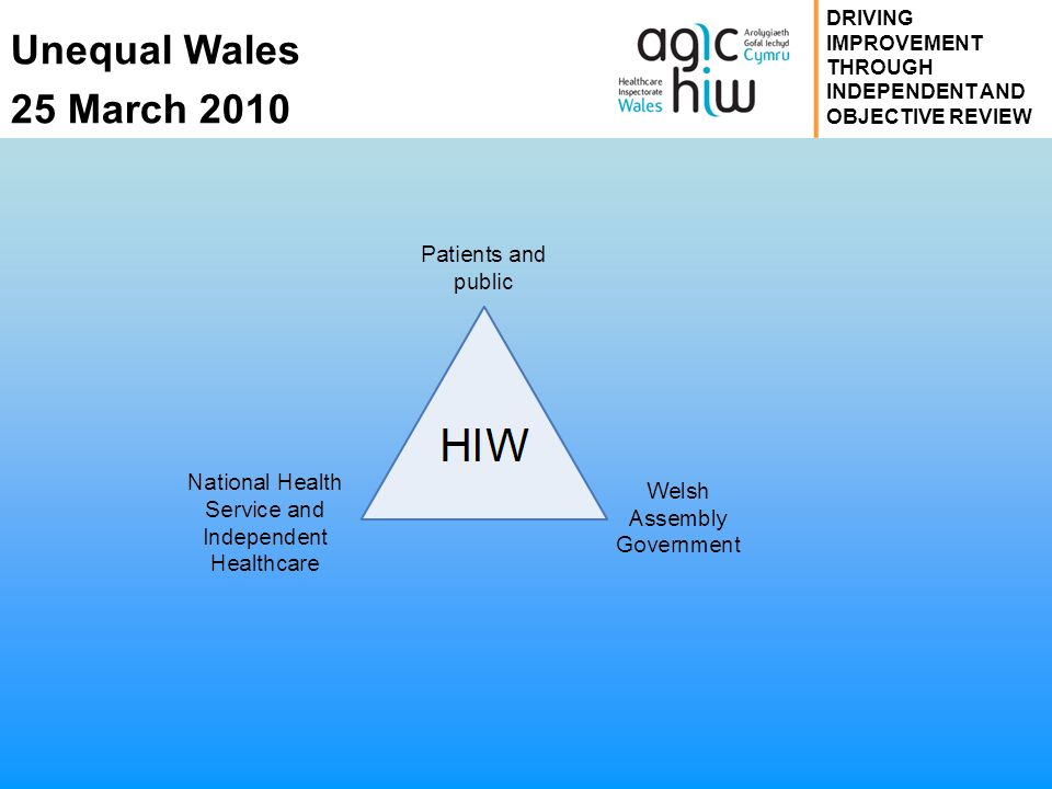 Unequal Wales 25 March 2010 DRIVING IMPROVEMENT THROUGH INDEPENDENT AND OBJECTIVE REVIEW