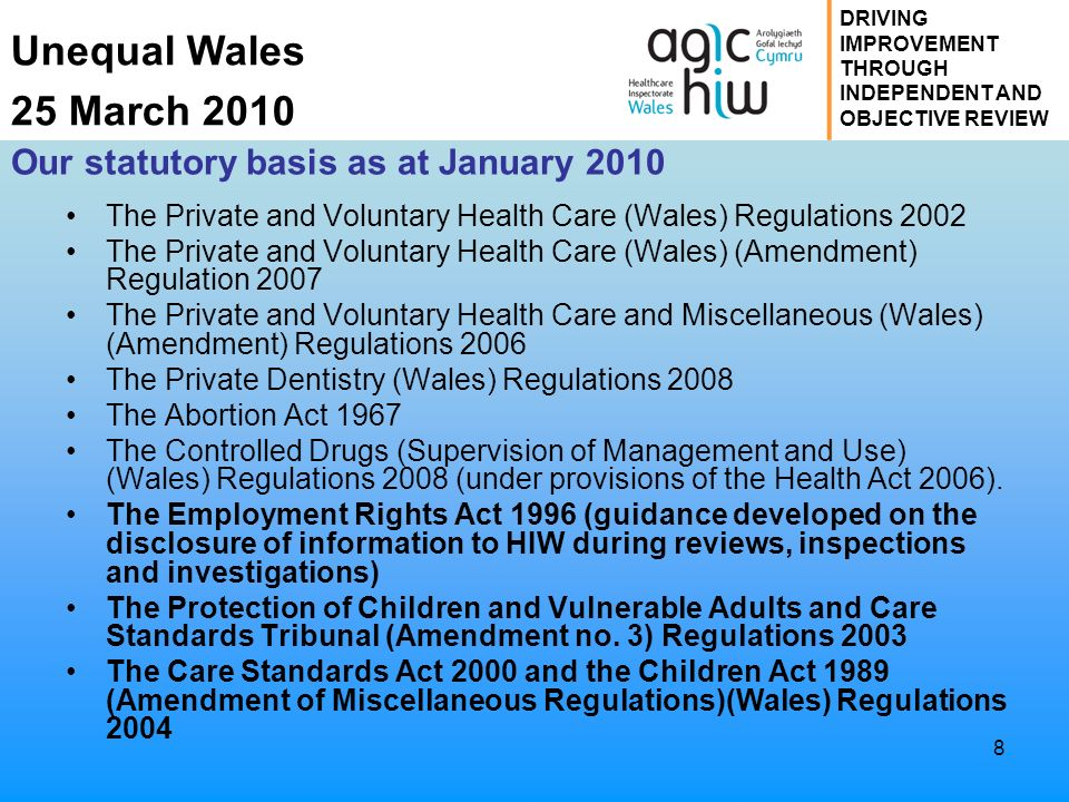 Unequal Wales 25 March 2010 DRIVING IMPROVEMENT THROUGH INDEPENDENT AND OBJECTIVE REVIEW 8 Our statutory basis as at January 2010 The Private and Volu